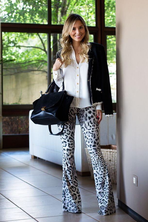 INSPIRAÇÃO - ANIMAL PRINT - calça flare - casaqueto