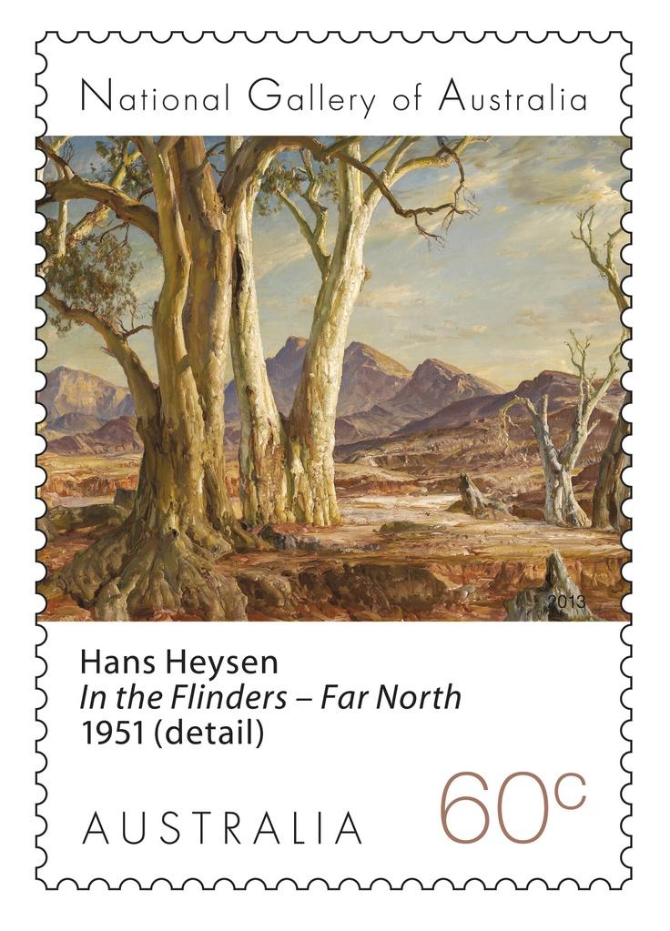 Hans Heysen's art on our Landscape Stamps. Australian art - Flinders Ranges, South Australia. #stampcollecting