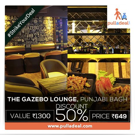 #StrikeYourDeal Intoxicate yourself with #DooWopAndPop, #RockAndRoll, & more, savoring the taste of your meal and booze at #TheGazebo,#PunjabiBagh with exciting deals. Save Rs 651/- on the deal of Rs 1300/- http://goo.gl/NMKUFq