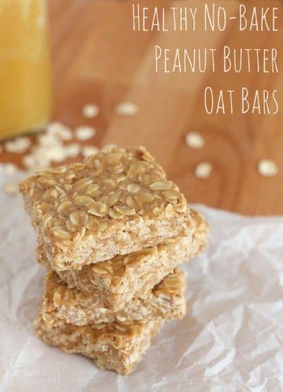Healthy No Bake Peanut Butter Oat Bars