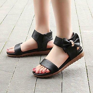 VROUWEN Comfort/Slingback - Sandalen ( Zwart/Wit ) - met Flat Heel - en Kalfshaar - EUR € 39.99