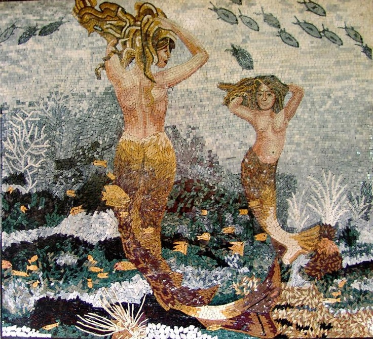 Mermaids Do A Little Dance In Marble Mosaic Art