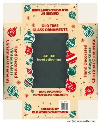 Vintage Christmas printable ornament box  | Source: