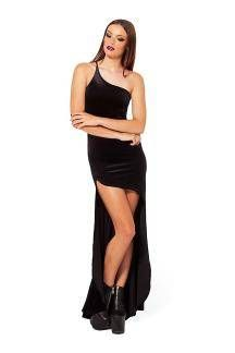 Black Party Dress with One Shoulder - US$23.95
