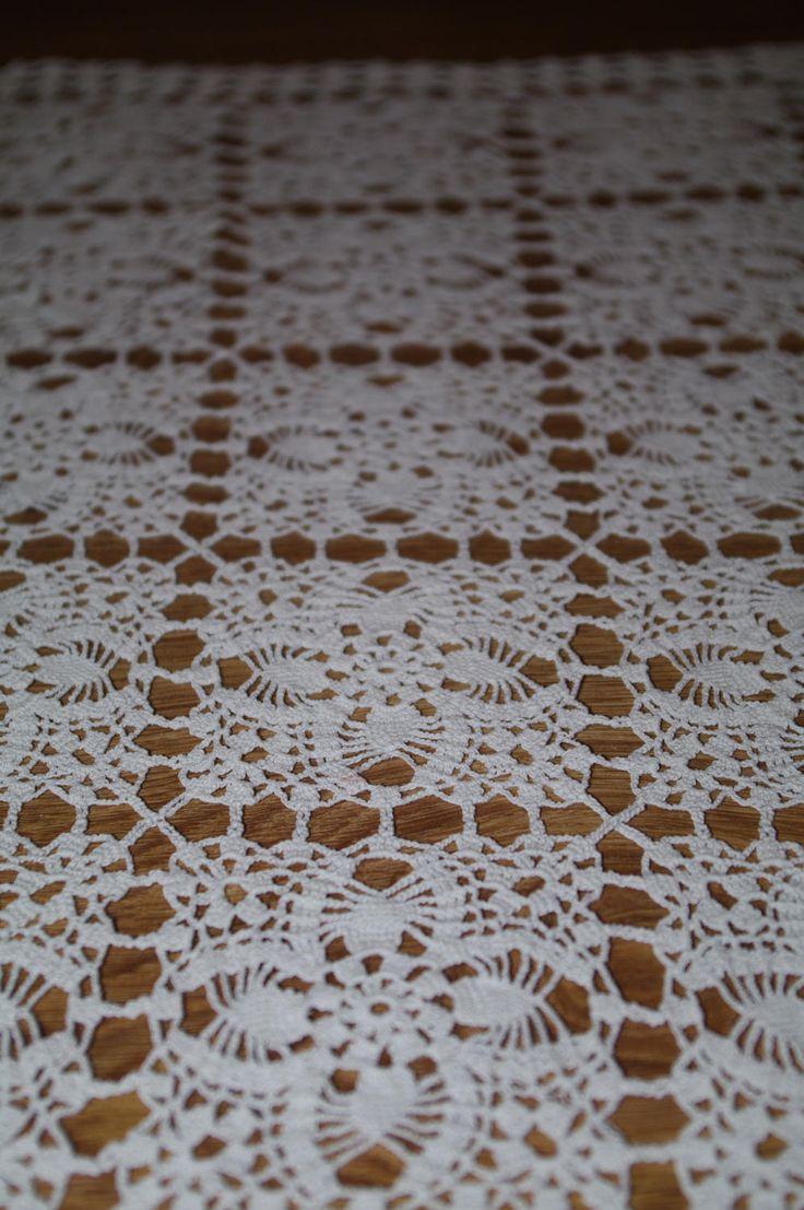 Polish White Vintage Lace Runner Lacework Crocheted Table Linen Table runner crochet traycloth Dresser scarf Polish Folk Table topper Napkin by VintagePolkaShop on Etsy