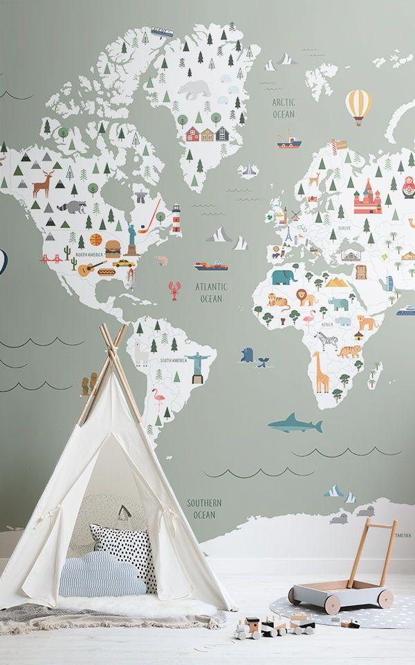Sage Ultimate Kids Map Wallpaper Mural Murals Wallpaper Playroom Wallpaper Kids Bedroom Decor Kid Room Decor