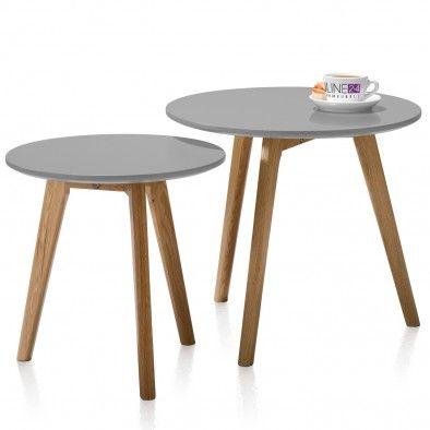 Bijzettafel Dille - set van 2 - Grijs Eikenhout - DesignOnline24