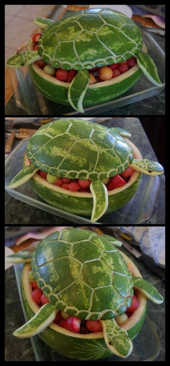 "Watermelon Turtle - I wasn't sure if I should pin this to my ""Fun with Food"" board or my ""Ain't Nobody Got Time for That"" board"