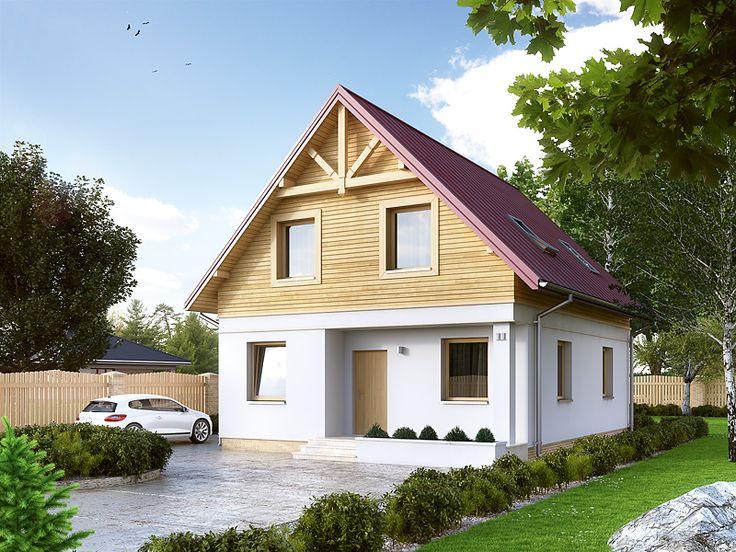 Oliwka 2 (101,46 m2) to nieduży projekt domu z użytkowym poddaszem. Pełna   prezentacja projektu dostępna jest na stronie: https://www.domywstylu.pl/projekt-domu-oliwka_2.php. #projekty #projekt #domy #dom #domywstylu #mtmstyl #nawąskądziałkę #wąskadziałka #aranżacje #design #architektura #home #houses
