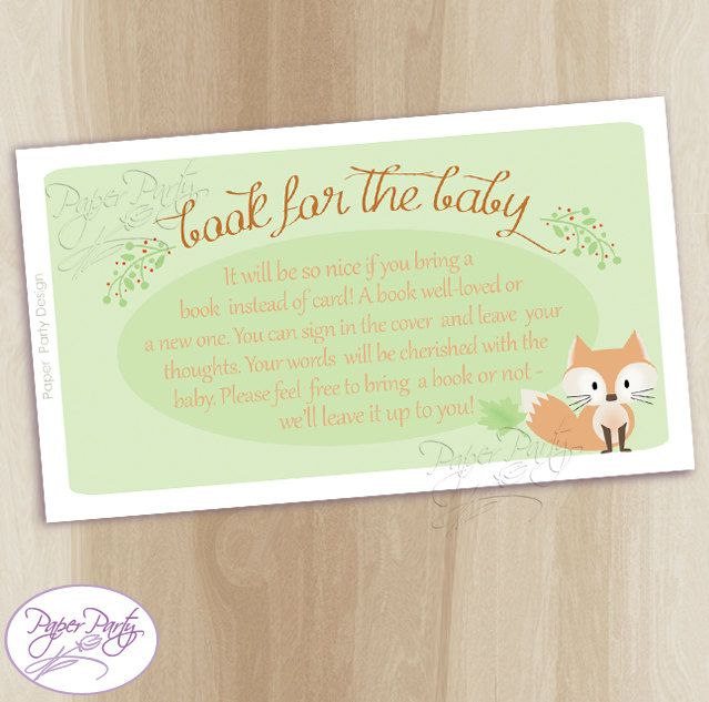 Fox Bring a Book Insert Baby Shower invitation | Baby Fox Mint Book Instead | Forest Friend Instant Download Bring a Book Card by PaperPartyDesignUS on Etsy