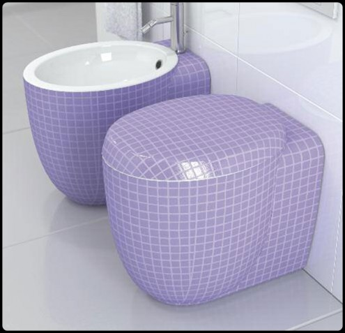 1000 images about purple bathroom and tiles on pinterest for Purple glass bathtub