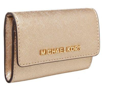 MICHAEL Michael Kors JET SET TRAVEL złoty Portfel pale gold