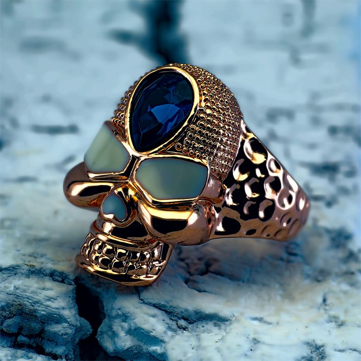 Skull Gold Plated 18k Ring  http://estelbijoux.it/en/12-rings #jewelry #style #accessories #fashion #ring #anello #teschio #cranio #moto #biker #skull #chopper #harley #bikelife #gioielli #photographer