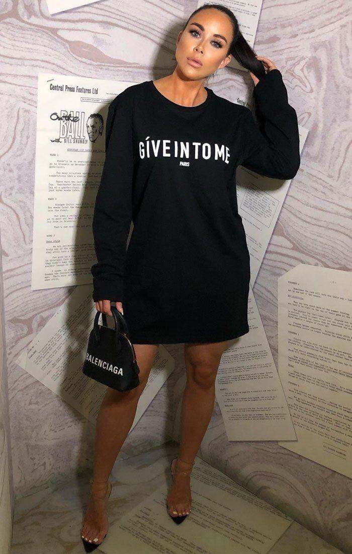 Schwarz Geben Sie mir Slogan übergroße T-Shirt-Kleid – Gigi