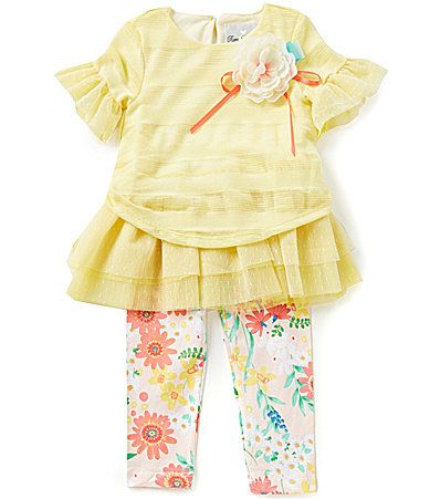 Rare Editions Little Girls 2T6X Mesh Ruffle Top and Floral Leggings Set #Dillards