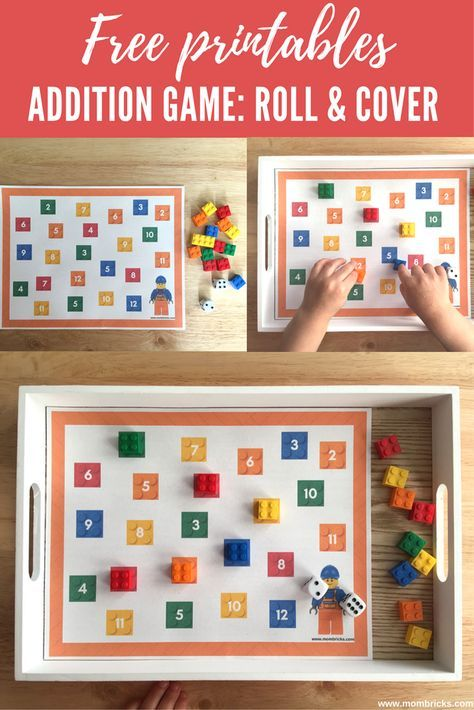 Addition game: Roll and Cover | Math activities for kids | Juego de suma con ladrillos LEGO | www.mombricks.com
