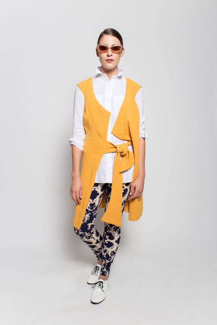 #lafemmemimi #fashion #prague #autumn #winter #2015 #lookbook #yellow #vest #dress