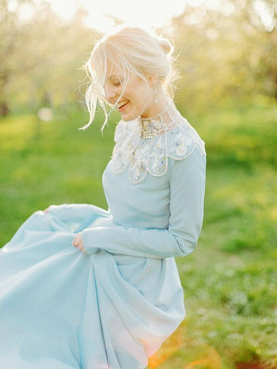 Blue wedding dress with long sleeves classic and simple modern boho brautkleid Bohemian color bridesmaid dress short plus size/ Lorem