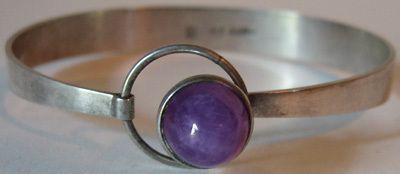Kaunis Koru Vintage Sterling Silver Amethyst Modernist Bracelet from Finland
