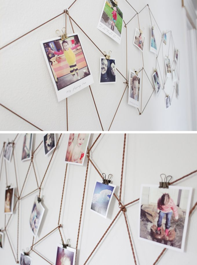 diy geometric photo display httpwwwkidsdinge - Diy Wall Decor For Bedroom