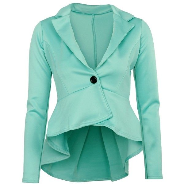 Mint Peplum Blazer (2630 RSD) ❤ liked on Polyvore featuring outerwear, jackets, blazers, tops, coats, blue blazer jacket, mint green blazer, mint jacket, peplum blazer and blue peplum blazer