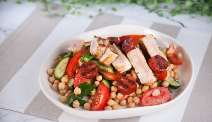 Pork with Chorizo & Chickpea Salad   Good Chef Bad Chef