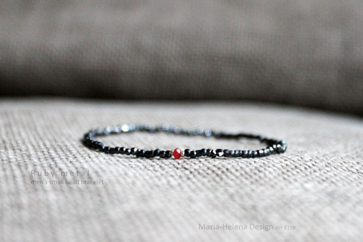 'Ruby metal' men's small bead bracelet with gem - Maria-Helena Design