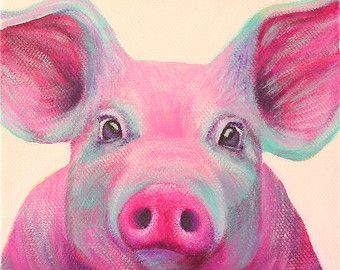 This colorful pig painting is perfect for any room in the house! These are made…