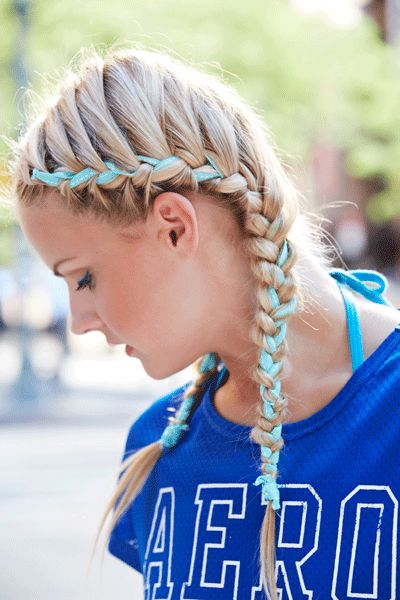 Amp up two French braids with a cool ribbon. Dab pomade on dry hair to give it grip. Take a long ribbon and wrap it like a headband, tying it at your nape. Gather hair to one side android, working in the ribbon. - Seventeen.com