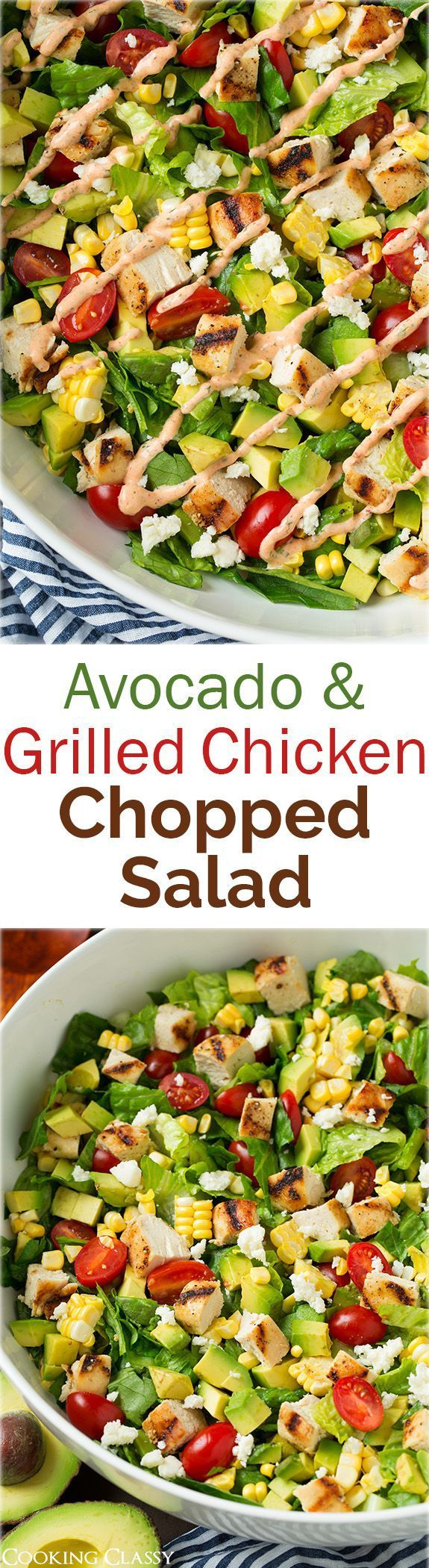 Avocado and Grilled Chicken Chopped Salad with Skinny Chipotle-Lime Ranch - I could eat this salad every single day! It was SO good! Used the left over ranch to dip chicken tenders in.: