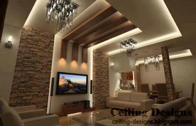 three wood ceiling panels decorate a living room false ceiling that made from 3 layers of solid PVC, that layers hide lighting sources to make a lighting glow, each one of th wood ceiling panels has a lighting spot installed in the end of it, make an artistic lighting