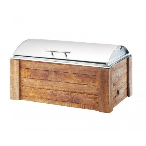 Madera Chafer Item: 3429-99 This Madera Chafer is constructed of reclaimed wood and metal. It is paired with a stainless steel lift top lid which keeps food fresh and warm until serving time. It is a perfect addition to any buffet, restaurant, or catered event.