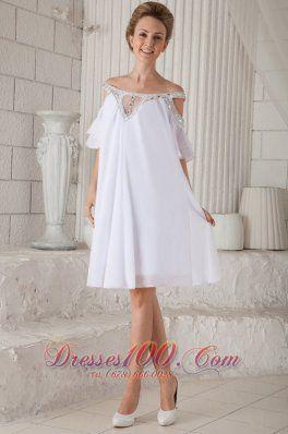White Prom Graduation Dress Off Shoulder Knee-length Chiffon Beading