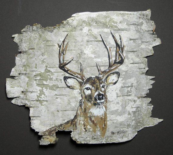 Buck deer hand painted on birch bark, in a 10 x 8 oak frame.