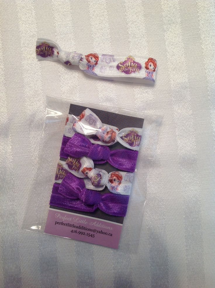 Sofia the First inspired Elastic Hair Ties. Great for loot bags & stocking stuffers. Ends are heat sealed to prevent fraying. Hand tied in a pet-free/smoke-free home.                                                       Check us out on FaceBook: www.facebook.com/perfectlittleadditions