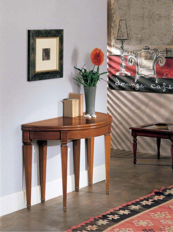 Tavolo Consolle allungabile in legno di ciliegio e faggio