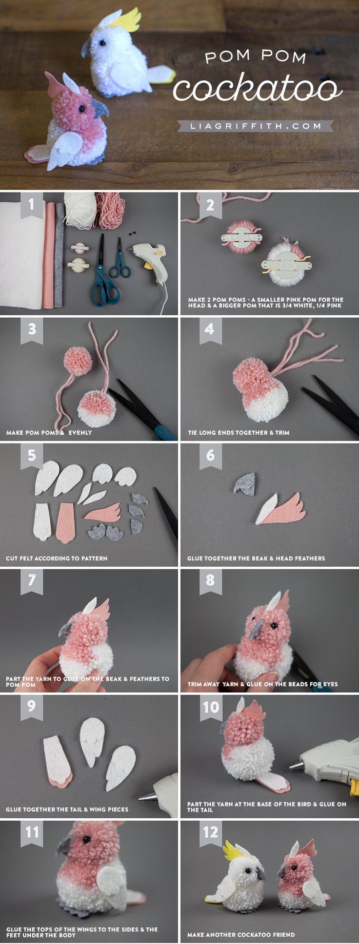 Craft These Really Cute Pom-Pom & Felt Cockatoos!