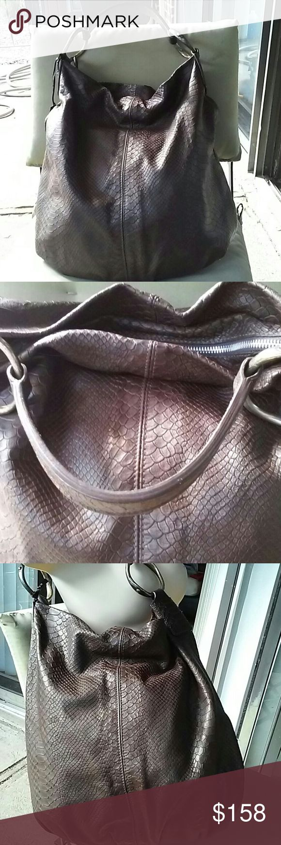 Gianni Chiarini genuin leather snake skin hobo NWT Vary soft brown leather, made in Italy,comes with dust bag,snake skin embossed Gianni Chiarini  Bags