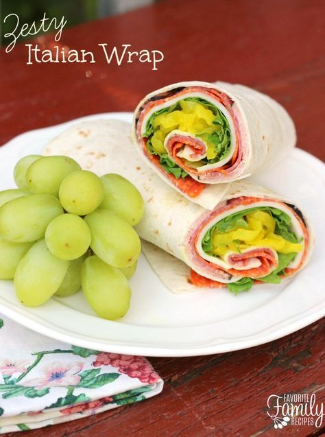 Zesty Italian Wrap - This Zesty Italian Wrap is great for making ahead and packing in a lunch box for school or work, or in a cooler for picnics or camping.