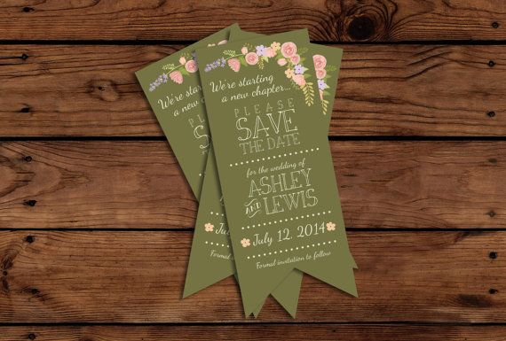 Bookmark Save The Date // Custom Bookmark // by SomebodyLovedShop, $12.00