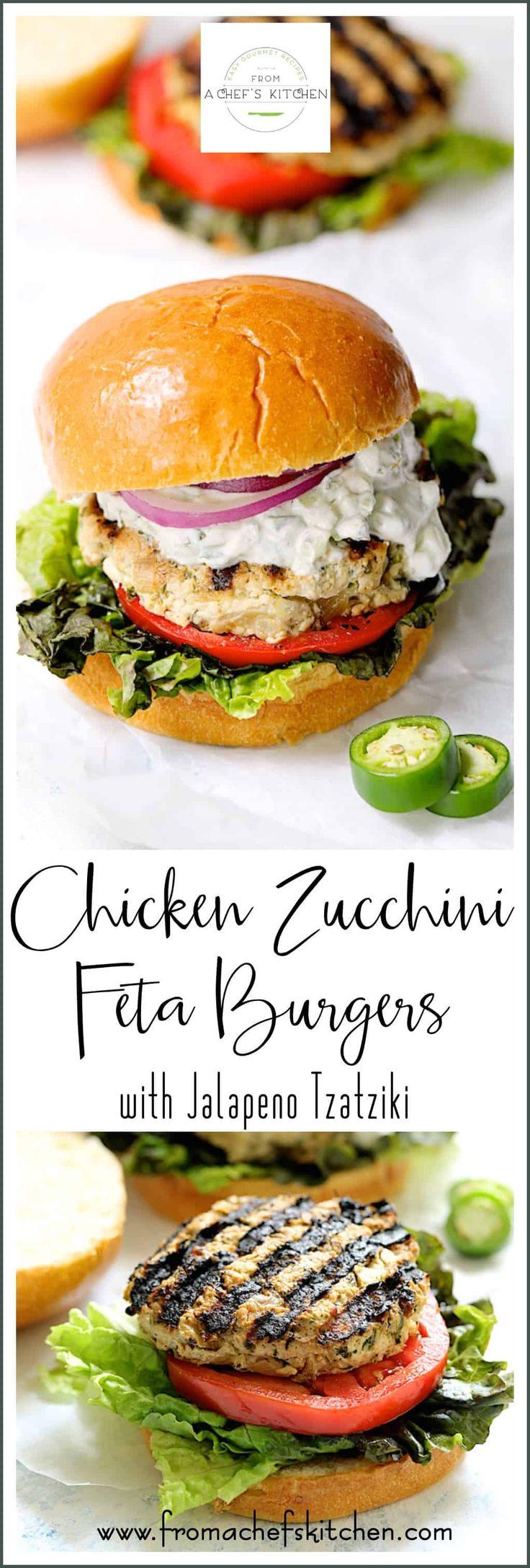 Chicken Zucchini Feta Burgers with Jalapeno Tzatzi…