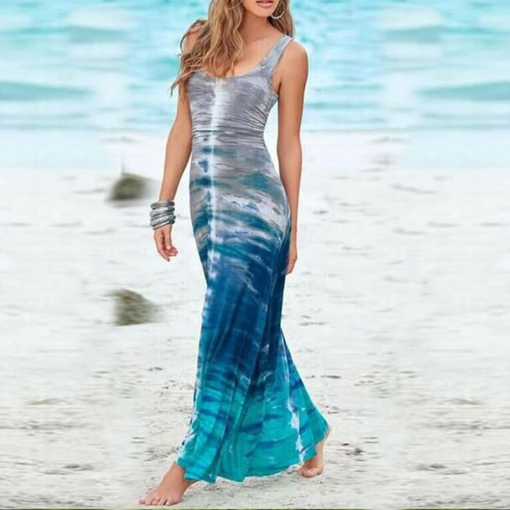 Women Summer O-Neck Sleeveless Tie Dye Maxi Long Beach Tank Dress