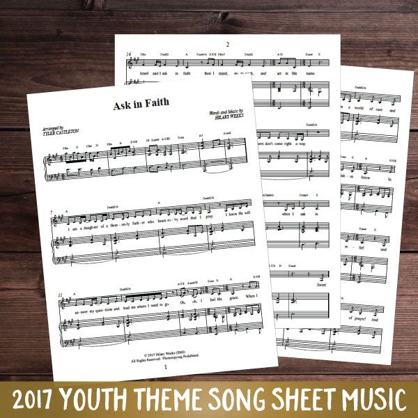 Ask in Faith– Piano/Sheet Music   This is the piano/sheet music for Hilary Week's 2017 LDS Mutual Theme duet, Ask in Faith.   This song is great to add to your personal music library or for performances.     See the song music HERE. See the minus track HERE. See the combo with the song, minus track, and sheet music HERE.   This product is also included in our Hilary Weeks Combo package HERE or our 2017 Mutual Theme Ultimate Kit HERE    1 license = for yourself or household.  Each additional…