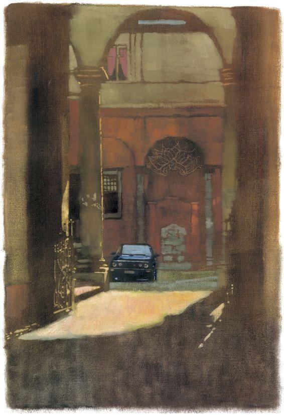 Bernie Fuchs. Courtyard car,via Font Borghese/コートヤード カー ヴィア フォントボルゲーゼ/55×37cm/ジクレ