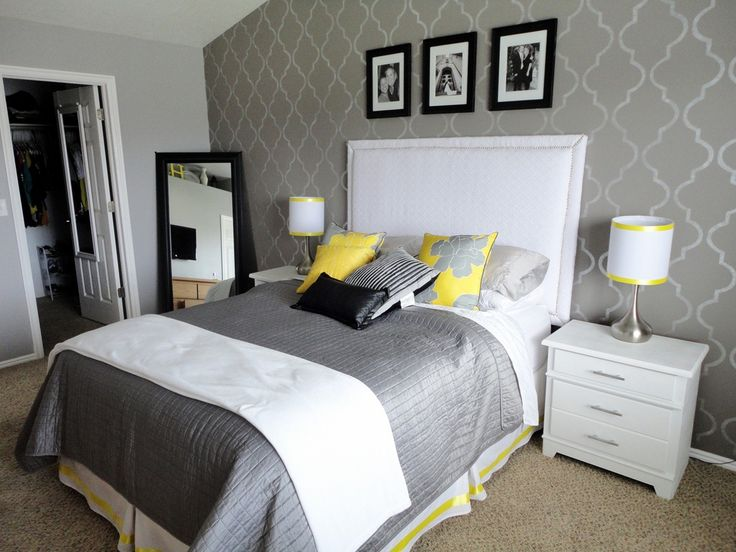 Gray bedroom with accent wall-- Love this but I want to use green instead of yellow