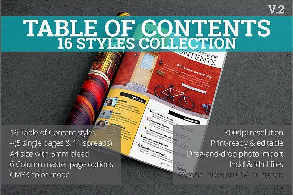 Table of Contents Style Collection by h.utomo on @creativemarket
