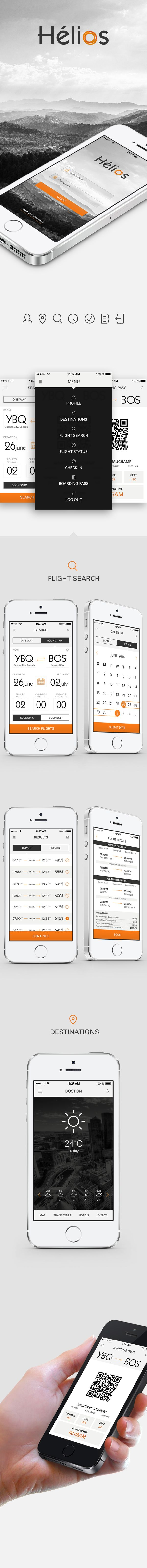 Hélios - Airline App Design by Sabryna Fredette, via Behance