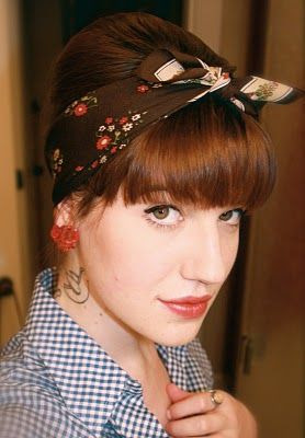 Example of Bangs and Updo Pin-up HairstyleShort Hair, Long Bangs, Updo Hairstyles, Pinup Hairstyles With Bangs, Shorts Rockabilly Hairstyles, Pinup Shorts Hairstyles, Pin Up Hairstyles, Updo Pin Up, Shorts Vintage Hair With Bangs