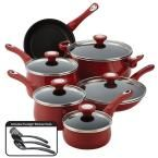 New Traditions 14-Piece Red Cookware Set with Lids