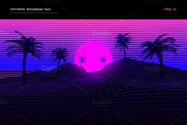 Synthwave Retrowave Background Pack Web Elements 2 Youtube